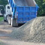 Truck delivering gravel